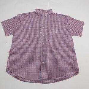 Chaps 2XL Red Blue Button Down Shirt  Cotton